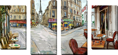Large Canvas Wall Art Set of 4 by Day in Paris,Sets of 4,Cityscapes,brown art