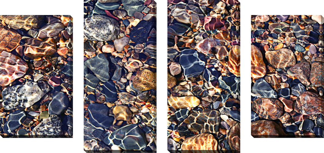 Large Canvas Wall Art Set of 4 by Water Stones 9,Sets of 4,Sea and Shore,blue art