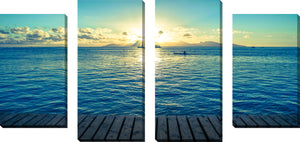 Large Canvas Wall Art Set of 4 by In the Distance,Sets of 4,Sea and Shore,blue art