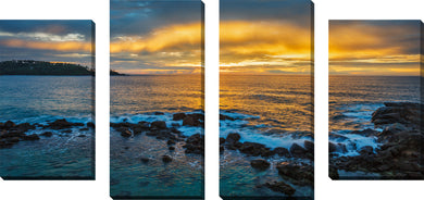 Large Canvas Wall Art Set of 4 by Cloudscape,Sets of 4,Sea and Shore,blue art