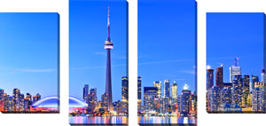 Large Canvas Wall Art Set of 4 by Toronto,Sets of 4,Cityscapes,blue art