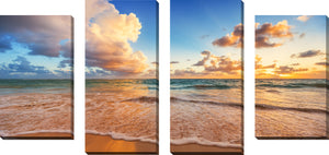 Large Canvas Wall Art Set of 4 by Beyond the Horizon,Sets of 4,Sea and Shore,blue art