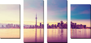 Large Canvas Wall Art Set of 4 by Toronto at Dusk,Sets of 4,Cityscapes,pink art