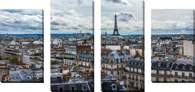 Large Canvas Wall Art Set of 4 by Paris Rooftops 3,Sets of 4,Cityscapes,blue art