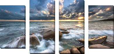 Large Canvas Wall Art Set of 4 by Ocean Bliss,Sets of 4,Sea and Shore,blue art