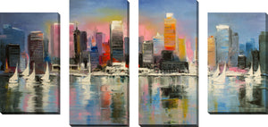 Large Canvas Wall Art Set of 4 by City of Light,Sets of 4,Cityscapes,blue art