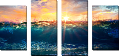 Large Canvas Wall Art Set of 4 by Underwater 2,Sets of 4,Sea and Shore,blue art