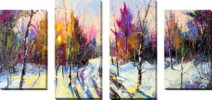Large Canvas Wall Art Set of 4 by Winter Forest,Sets of 4,Landscapes,purple art
