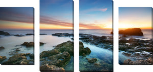 Large Canvas Wall Art Set of 4 by Sunset Splendor 2,Sets of 4,Sea and Shore,blue art