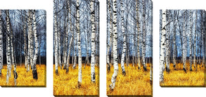 Large Canvas Wall Art Set of 4 by Birch Trees 2,Sets of 4,Landscapes,yellow art