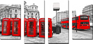 Large Canvas Wall Art Set of 4 by London Red Bus,Sets of 4,Cityscapes,red art