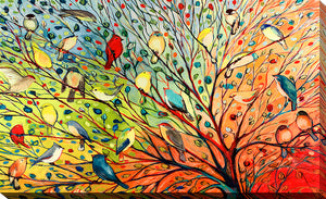 "Giclee Stretched Canvas Wall Art by Jennifer Lommers ""27 Birds"", All Canavs Art,Floral,All Colors,All Shapes,All Artists,multi-color art,Landscape Shape,Jennifer Lommers"
