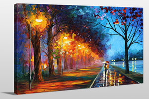 "Giclee Stretched Canvas Wall Art by Leonid Afremov ""Alley By The Lake"", All Canvas Art,All Subjects,Landscapes,All Colors,All Shapes,All Artists,multi-color art,Landscape Shape,Leonid Afremov"