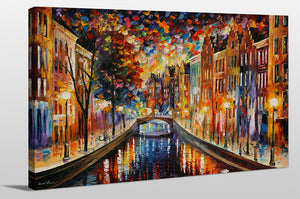 "Giclee Stretched Canvas Wall Art by Leonid Afremov ""Amsterdam, Night Canal"", All Canvas Art,All Subjects,Cityscapes,All Colors,All Shapes,All Artists,multi-color art,Landscape Shape,Leonid Afremov"