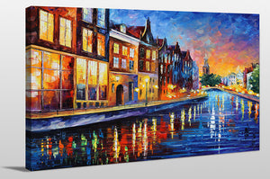 "Giclee Stretched Canvas Wall Art by Leonid Afremov ""Amsterdam, Sunday Night"", All Canvas Art,All Subjects,Cityscapes,All Colors,All Shapes,All Artists,blue art,Landscape Shape,Leonid Afremov"