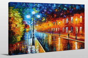 "Giclee Stretched Canvas Wall Art by Leonid Afremov ""Blue Lights"", All Canvas Art,All Subjects,Cityscapes,All Colors,All Shapes,All Artists,multi-color art,Landscape Shape,Leonid Afremov"