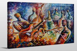 "Giclee Stretched Canvas Wall Art by Leonid Afremov ""Bottle Jazz"", All Canvas Art,All Subjects,Celebrities,All Colors,All Shapes,All Artists,multi-color art,Landscape Shape,Leonid Afremov"