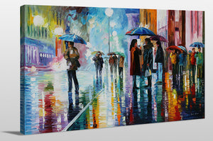 "Giclee Stretched Canvas Wall Art by Leonid Afremov ""Bus Stop - Under The Rain"", All Canvas Art,All Subjects,Cityscapes,All Colors,All Shapes,All Artists,multi-color art,Landscape Shape,Leonid Afremov"