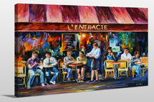 "Giclee Stretched Canvas Wall Art by Leonid Afremov ""Cafe In Paris Iii"", All Canvas Art,All Subjects,Food and Beverage,All Colors,All Shapes,All Artists,multi-color art,Landscape Shape,Leonid Afremov"