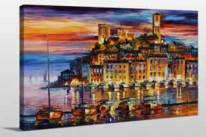 "Giclee Stretched Canvas Wall Art by Leonid Afremov ""Cannes - France"", All Canvas Art,All Subjects,Coastal,Sea and Shore,All Colors,All Shapes,All Artists,multi-color art,Landscape Shape,Leonid Afremov"