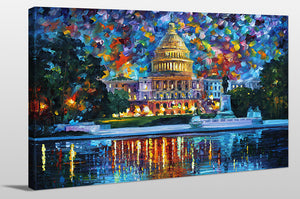 "Giclee Stretched Canvas Wall Art by Leonid Afremov ""Capitol At Night Washington"", All Canvas Art,All Subjects,Cityscapes,All Colors,All Shapes,All Artists,blue art,Landscape Shape,Leonid Afremov"