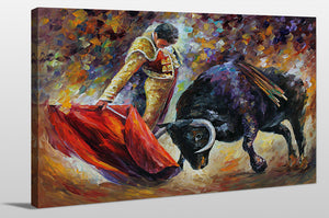 "Giclee Stretched Canvas Wall Art by Leonid Afremov ""Corrida - Dangerous Opponent"", All Canvas Art,All Subjects,Animals,All Colors,All Shapes,All Artists,multi-color art,Landscape Shape,Leonid Afremov"