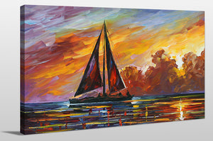 "Giclee Stretched Canvas Wall Art by Leonid Afremov ""Crimson Clouds"", All Canvas Art,All Subjects,Coastal,Sea and Shore,All Colors,All Shapes,All Artists,multi-color art,Landscape Shape,Leonid Afremov"