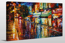 "Giclee Stretched Canvas Wall Art by Leonid Afremov ""Downtown Rain"", All Canvas Art,All Subjects,Cityscapes,All Colors,All Shapes,All Artists,multi-color art,Landscape Shape,Leonid Afremov"
