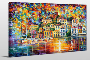 "Giclee Stretched Canvas Wall Art by Leonid Afremov ""Dream Harbor"", All Canvas Art,All Subjects,Coastal,Sea and Shore,All Colors,All Shapes,All Artists,multi-color art,Landscape Shape,Leonid Afremov"