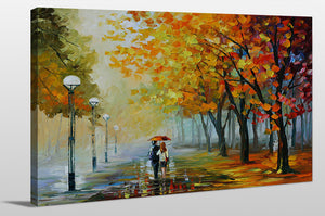 "Giclee Stretched Canvas Wall Art by Leonid Afremov ""Fall Drizzle"", All Canvas Art,All Subjects,Landscapes,All Colors,All Shapes,All Artists,multi-color art,Landscape Shape,Leonid Afremov"