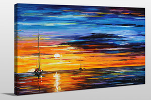 "Giclee Stretched Canvas Wall Art by Leonid Afremov ""Far And Away"", All Canvas Art,All Subjects,Coastal,Sea and Shore,All Colors,All Shapes,All Artists,blue art,Landscape Shape,Leonid Afremov"
