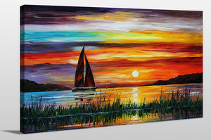 "Giclee Stretched Canvas Wall Art by Leonid Afremov ""Florida-Lake Okeechobee"", All Canvas Art,All Subjects,Coastal,Sea and Shore,All Colors,All Shapes,All Artists,multi-color art,Landscape Shape,Leonid Afremov"
