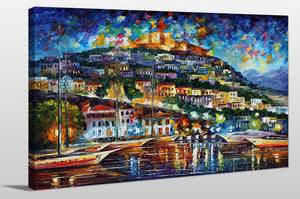 "Giclee Stretched Canvas Wall Art by Leonid Afremov ""Greece - Lesbos Island"", All Canvas Art,All Subjects,Landscapes,All Colors,All Shapes,All Artists,blue art,Landscape Shape,Leonid Afremov"