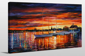 "Giclee Stretched Canvas Wall Art by Leonid Afremov ""Helsinki - Sailboats At Yacht Club"", All Canvas Art,All Subjects,Coastal,Sea and Shore,All Colors,All Shapes,All Artists,orange art,Landscape Shape,Leonid Afremov"