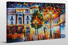 "Giclee Stretched Canvas Wall Art by Leonid Afremov ""Lonley Couples"", All Canvas Art,All Subjects,Cityscapes,All Colors,All Shapes,All Artists,multi-color art,Landscape Shape,Leonid Afremov"