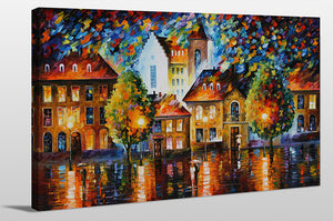 "Giclee Stretched Canvas Wall Art by Leonid Afremov ""Luxembourg Night"", All Canvas Art,All Subjects,Cityscapes,All Colors,All Shapes,All Artists,multi-color art,Landscape Shape,Leonid Afremov"