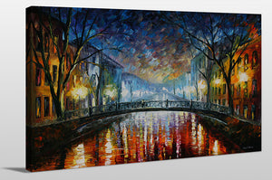 "Giclee Stretched Canvas Wall Art by Leonid Afremov ""Misty Bridge"", All Canvas Art,All Subjects,Landscapes,All Colors,All Shapes,All Artists,blue art,Landscape Shape,Leonid Afremov"
