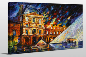 "Giclee Stretched Canvas Wall Art by Leonid Afremov ""Musee De Louvre"", All Canvas Art,All Subjects,Cityscapes,All Colors,All Shapes,All Artists,multi-color art,Landscape Shape,Leonid Afremov"