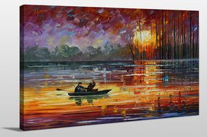 "Giclee Stretched Canvas Wall Art by Leonid Afremov ""Night Fishing"", All Canvas Art,All Subjects,Coastal,Sea and Shore,All Colors,All Shapes,All Artists,multi-color art,Landscape Shape,Leonid Afremov"