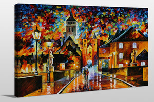 "Giclee Stretched Canvas Wall Art by Leonid Afremov ""Night In The Old City"", All Canvas Art,All Subjects,Cityscapes,All Colors,All Shapes,All Artists,multi-color art,Landscape Shape,Leonid Afremov"