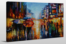 "Giclee Stretched Canvas Wall Art by Leonid Afremov ""Night Umbrellas"", All Canvas Art,All Subjects,Cityscapes,All Colors,All Shapes,All Artists,multi-color art,Landscape Shape,Leonid Afremov"