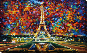 "Giclee Stretched Canvas Wall Art by Leonid Afremov ""Paris Of My Dreams"", All Canvas Art,All Subjects,Cityscapes,All Colors,All Shapes,All Artists,multi-color art,Landscape Shape,Leonid Afremov"