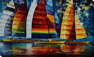 "Giclee Stretched Canvas Wall Art by Leonid Afremov ""Sea Regatta"", All Canvas Art,All Subjects,Coastal,Sea and Shore,All Colors,All Shapes,All Artists,blue art,Landscape Shape,Leonid Afremov"