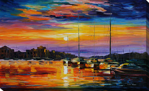 "Giclee Stretched Canvas Wall Art by Leonid Afremov ""Sicily, Messina"", All Canvas Art,All Subjects,Coastal,Sea and Shore,All Colors,All Shapes,All Artists,multi-color art,Landscape Shape,Leonid Afremov"