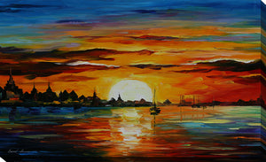 "Giclee Stretched Canvas Wall Art by Leonid Afremov ""Sunrise In The Harbor"", All Canvas Art,All Subjects,Coastal,Sea and Shore,All Colors,All Shapes,All Artists,multi-color art,Landscape Shape,Leonid Afremov"