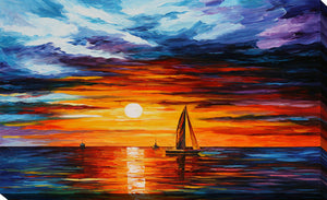 "Giclee Stretched Canvas Wall Art by Leonid Afremov ""Touch Of Horizon"", All Canvas Art,All Subjects,Coastal,Sea and Shore,All Colors,All Shapes,All Artists,multi-color art,Landscape Shape,Leonid Afremov"
