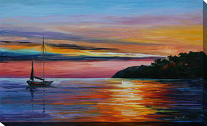 "Giclee Stretched Canvas Wall Art by Leonid Afremov ""Way To Home 1"", All Canvas Art,All Subjects,Coastal,Sea and Shore,All Colors,All Shapes,All Artists,blue art,Landscape Shape,Leonid Afremov"