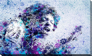 "Giclee Stretched Canvas Wall Art by Bekim Mehovic ""Jimi Hendrix II"", All Canvas Art,All Subjects,Celebrities,All Colors,All Shapes,All Artists,blue art,Landscape Shape,Bekim Mehovic"