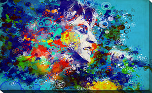 "Giclee Stretched Canvas Wall Art by Bekim Mehovic ""John Lennon III"", All Canvas Art,All Subjects,Celebrities,All Colors,All Shapes,All Artists,blue art,Landscape Shape,Bekim Mehovic"