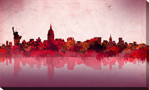 "Wall Art by Bekim Mehovic ""New York Skyline Red"", All Canvas Art,All Subjects,Cityscapes,All Colors,All Shapes,All Artists,red art,Landscape Shape,Bekim Mehovic"